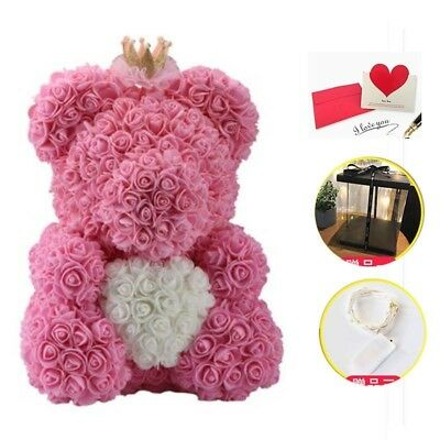 40cm Big Pink Teddy Rose Flower with LED Box Valentine's Day Gift For Her