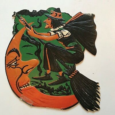 Old Vintage Halloween Cardboard Diecut Die Cut Beistle Witch Moon Bat 1930-1950s