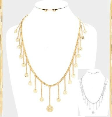 Multi Circle Coin Medal Charm Layered Long Chain Pendant Necklace Earrings SET