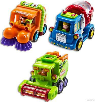 3 Push and Go Friction Powered Car Toy Street Sweeper Truck Cement Mixer Harvest