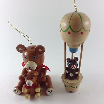 Vintage RUSS BERRIE Christmas Tree Ornaments Wooden Bear Air Balloon Collectible