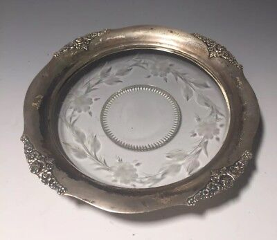 Sterling Silver Rose Flower Design Etched Glass Coaster