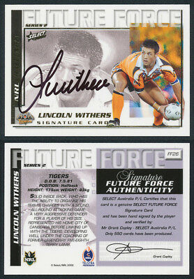Lincoln Withers AUTHENTIC SIGNATURE 2002 Select NRL Future Force FF26
