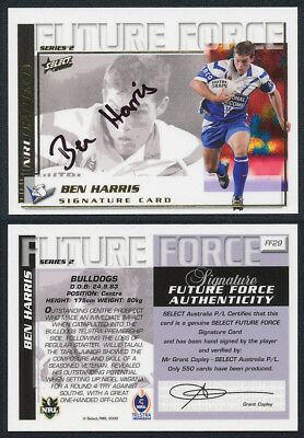 Ben Harris AUTHENTIC SIGNATURE 2002 Select NRL Future Force FF29