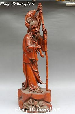 "19"" Rare Boxwood Wood Ancient Pine Tree People Old Man Fisherman Fish Statue"