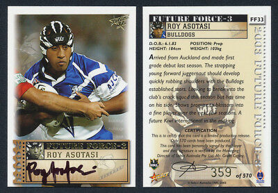 Roy Asotasi AUTHENTIC SIGNATURE 2003 Select NRL FF33 359 of 570