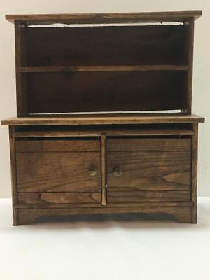 "Antique ""CASS KITCHEN CABINET"" Doll Oak Wood Stepback Toy Salesman Sample Vtg"