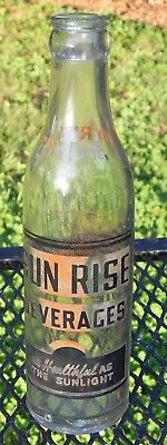 Sun Rise Beverages Soda Bottle As Healthy As The Sunlight Tazewell Virginia 1948