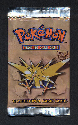 Zapdos Pokemon 1999 - 2000 Red Fossil Booster Factory Sealed Pack