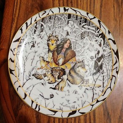 "1996 Bradford Exchange ""Native Harmony"" Girl with Wolves Collector Plate"