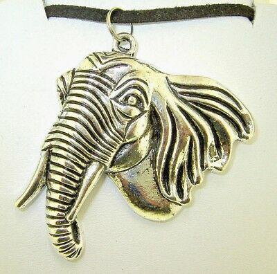 """New Large Beautiful side-view 3-D ELEPHANT Silver-tone Pendant 18""""- 20"""" Necklace"""