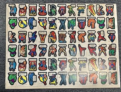 1974 Topps MARVEL SUPER HEROES STICKERS Uncut Sheet VERY RARE!!