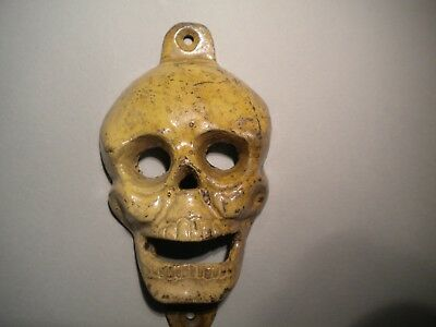 Antique Vintage style Skull Cast Iron Bottle Opener Wall Mounted  Man Cave Beer