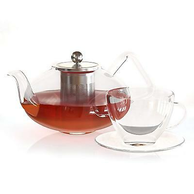 Large Glass Teapot with Infuser 40 Oz - Clear Borosilicate Pyrex Kettle