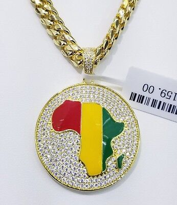 Iced Out Africa Charm W/ Cuban Chain 14 Kt Gold Finish Anti Tarnish High Quality