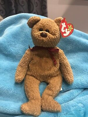 TY Beanie Babies Curly Bear Brown Teddy 1993 NEW Tag Protector ***VERY RARE***