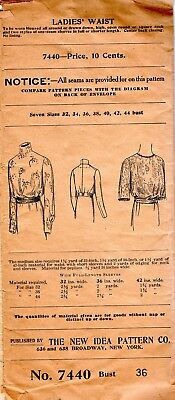 Vintage Early 1900's THE NEW IDEA PATTERN CO. LADIES Blouse #7440