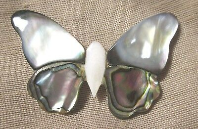 WOW! XL WHITE MOTHER OF PEARL & INLAID ABALONE BUTTERFLY BUTTON 2-1/4 inches