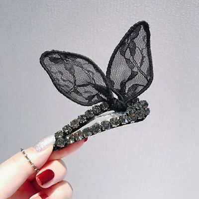 1x Black Lace Crystal Bunny Ear BB Clip Rabbit Bow Barrette Hairpin Hair Jewelry