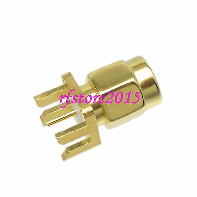 1pce Connector SMA male plug solder PCB clip edge 9.0mm panel mount COAXIAL