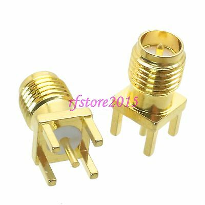 1pce Connector RP-SMA female plug solder PCB mount RF COAXIAL