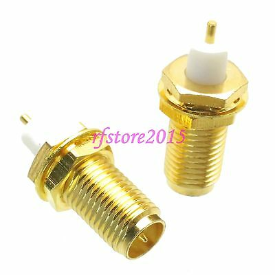 1pce Connector RP-SMA female plug bulkhead PTFE solder Panel mount RF COAXIAL