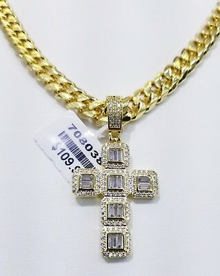 Vvs1 Ice Cross Charm With Cuban Chain 14Kt Gold Finish Anti Tarnish High Quality