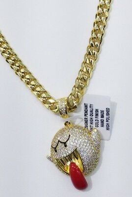 Vvs1 Designer Charm With Cuban Chain 14Kt Gold Finish Anti Tarnish High Quality