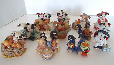 MARY'S MOO MOOS Figurines Trinket Box Enesco 1993-1999 Limited Edition 12 Pc Lot