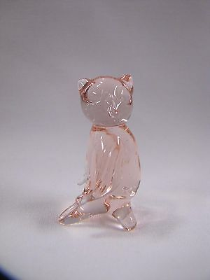 Pink Glass Owl Figurine Pink Glass Miniature Pink Glass Vintage
