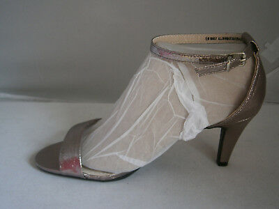 Madeline Marly Pewter Slingback Shoes 7.5 Ankle Buckle Open Toe Formal Fancy