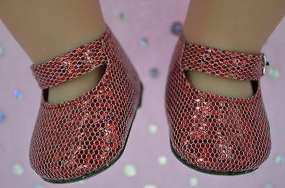 """Dolls Shoes To Fit 17"""" Baby Born~18"""" American Girl  RED SPARKLE MARY JANE SHOES"""
