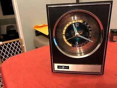 Vintage Howard Miller World Clock 7RW001 Quartz Vintage Time Mid Century Japan
