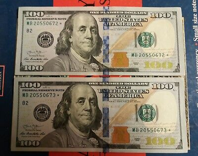 "PAIR 2013 $100 Perfect Uncirculated VERY RARE Consecutive Serial # ""STAR NOTES"""