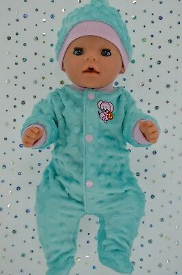 """Play n Wear Doll Clothes For 17"""" Baby Born MINT/PINK MINKY STRETCH AND GROW~HAT"""