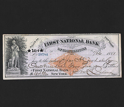 OPC 1881 First National Bank of Cooperstown NY Bank Draft Sc#RN-G1 33803