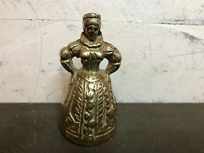 Vintage Cast Brass Victorian Lady Dinner Bell with Clapper Feet