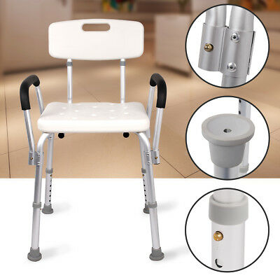 New Aluminium Adjustable Medical Aid Armrest Bath Shower Stool Chair Seat Bench