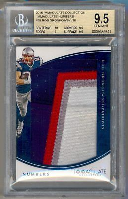 2016 Immaculate Collection Numbers ROB GRONKOWSKI Jersey Patch /10 BGS 9.5 POP 1