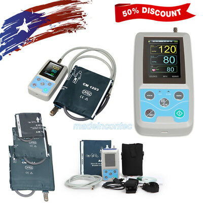CONTEC Ambulatory Blood Pressure Monitor+Software 24h NIBP Holter+3 Cuffs USA