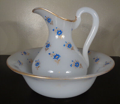 Antique French Opaline Art Glass Large Wash Basin & Pitcher ~ Baccarat Style