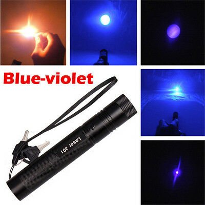 Laser Pointer Military Blue Purple 405nm Lazer Pen Beam+ 18650 Battery + Charger