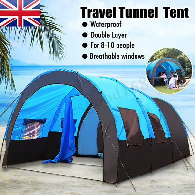 Hiking 5/8/10 Person Waterproof Tunnel Tent Camping Outdoor Party Family Travel