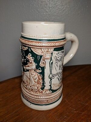 Antique 1912 German Hand Painted Beer Stein Tankard