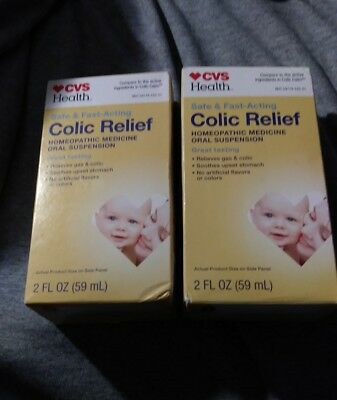 """2 COLIC RELIEF HOMEOPATHIC FAST ACTING/INFANT GAS/COLIC..""""COLIC CALM"""" 2+2 fl Oz."""