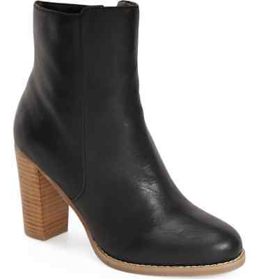 New SOLE SOCIETY Micah Ankle Boots Women's 10 M Leather Fashion Bootie BLACK NIB