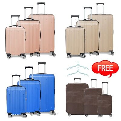 3PCS Travel Luggage Set Bag Case Trolley ABS Spinner Flight Carry On Suitcase
