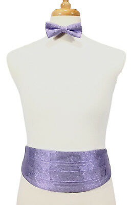0f5fbca56c827 New - Light Purple Lame Sparkle Glitter Vintage 1980's Cummerbund & Bow Tie  Set