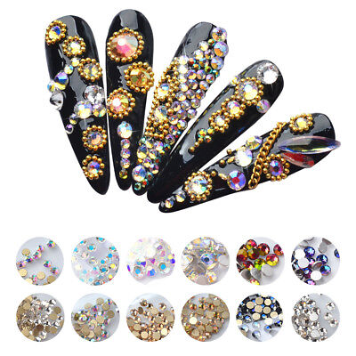 Mixed Nail Rhinestones Gold Silver Flat Glitter AB Color 3D Nail Art Decoration