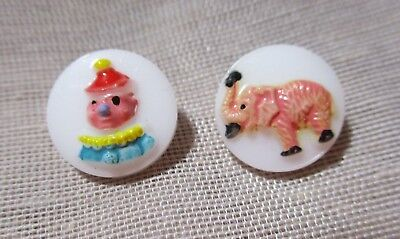 VINTAGE H-P WHITE GLASS CHILDREN'S BUTTONS COLORFUL CLOWN & PINK ELEPHANT 1/2 in